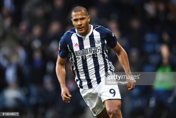 Jose Salomon Rondon of West Bromwich Albion celebrates scoring his side's first goal during the The Emirates FA Cup Fifth Round between West Bromwich...