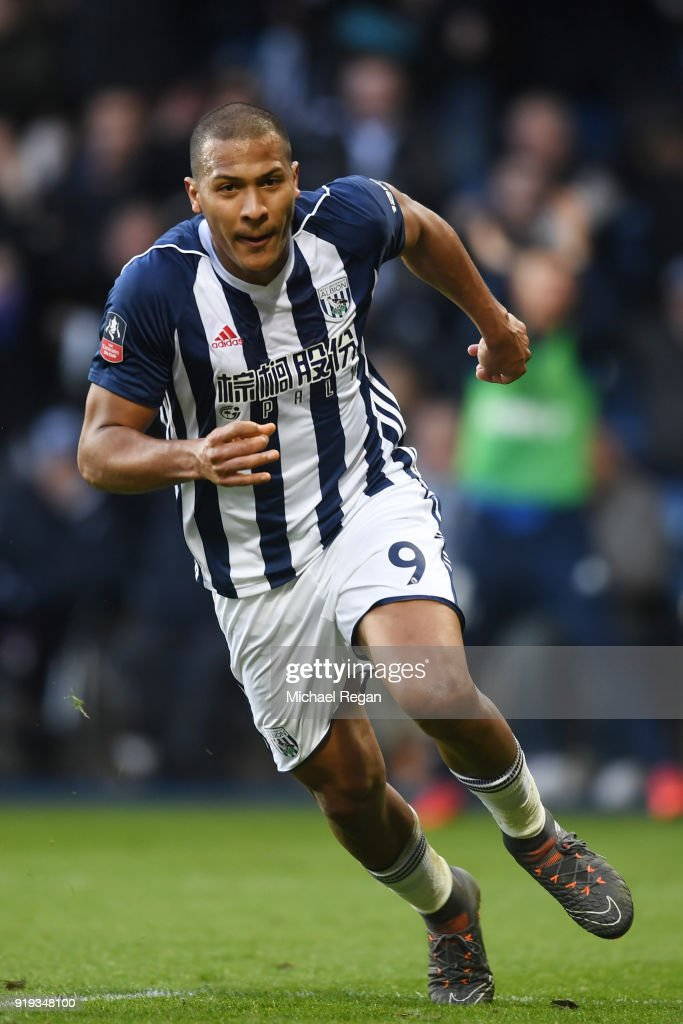 Jose Salomon Rondon of West Bromwich Albion celebrates scoring his side's first goal during the The Emirates FA Cup Fifth Round between West Bromwich Albion v Southampton at The Hawthorns on February 17, 2018 in West Bromwich, England.