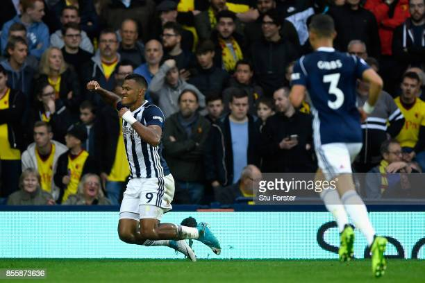 Jose Salomon Rondon of West Bromwich Albion celebrates scoring the opening goal during the Premier League match between West Bromwich Albion and...