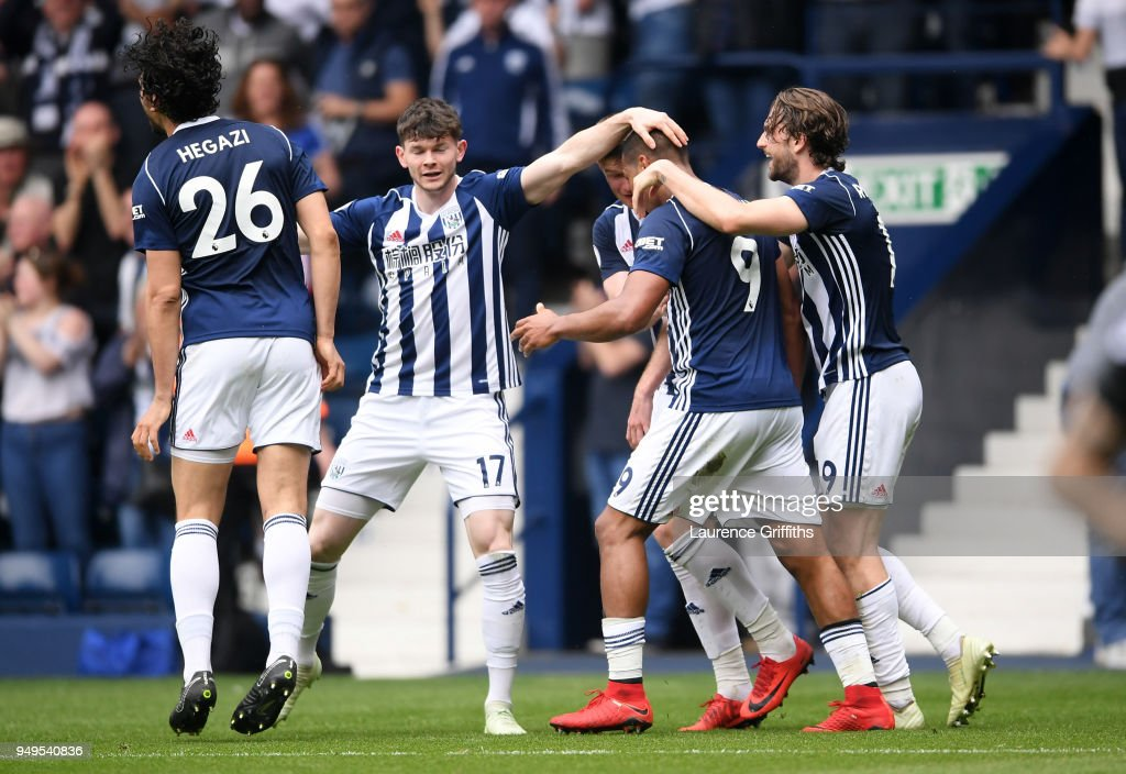 Jose Salomon Rondon of West Bromwich Albion celebrates with teammates after scoring his sides second goal during the Premier League match between West Bromwich Albion and Liverpool at The Hawthorns on April 21, 2018 in West Bromwich, England.