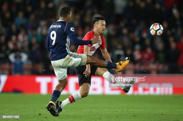 Jose Salomon Rondon of West Bromwich Albion clears ball away from Maya Yoshida of Southampton during the Premier League match between Southampton and...
