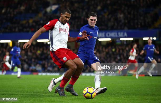 Jose Salomon Rondon of West Bromwich Albion is challenged by Andreas Christensen of Chelsea during the Premier League match between Chelsea and West...