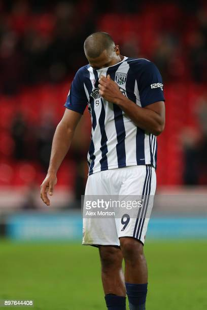 Jose Salomon Rondon of West Bromwich Albion looks dejected after the Premier League match between Stoke City and West Bromwich Albion at Bet365...