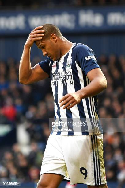 Jose Salomon Rondon of West Bromwich Albion looks dejected during the The Emirates FA Cup Fifth Round between West Bromwich Albion v Southampton at...