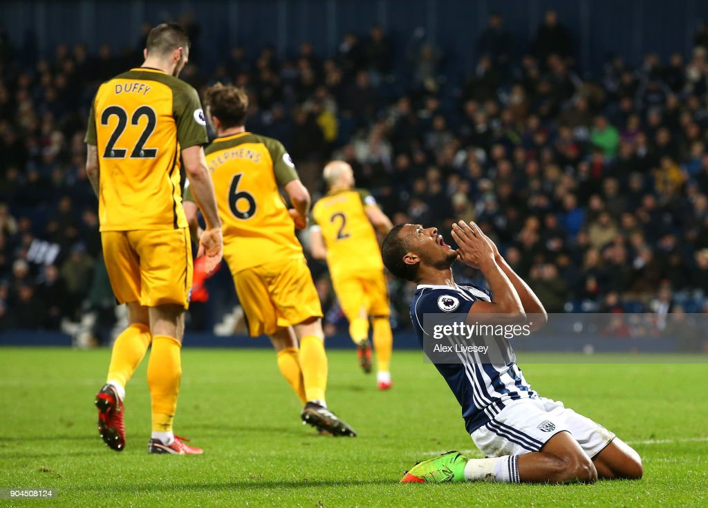 Jose Salomon Rondon of West Bromwich Albion reacts during the Premier League match between West Bromwich Albion and Brighton and Hove Albion at The Hawthorns on January 13, 2018 in West Bromwich, England.