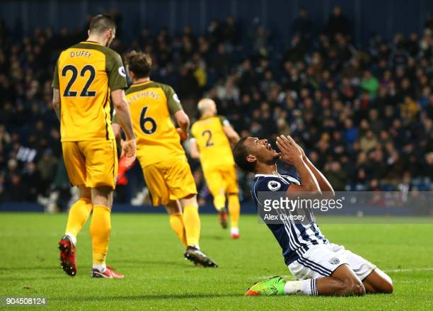 Jose Salomon Rondon of West Bromwich Albion reacts during the Premier League match between West Bromwich Albion and Brighton and Hove Albion at The...