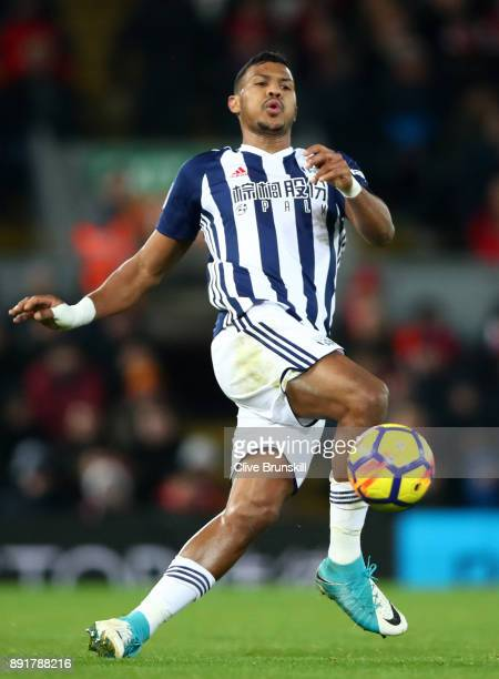 Jose Salomon Rondon of West Bromwich Albion runs with the ball during the Premier League match between Liverpool and West Bromwich Albion at Anfield...