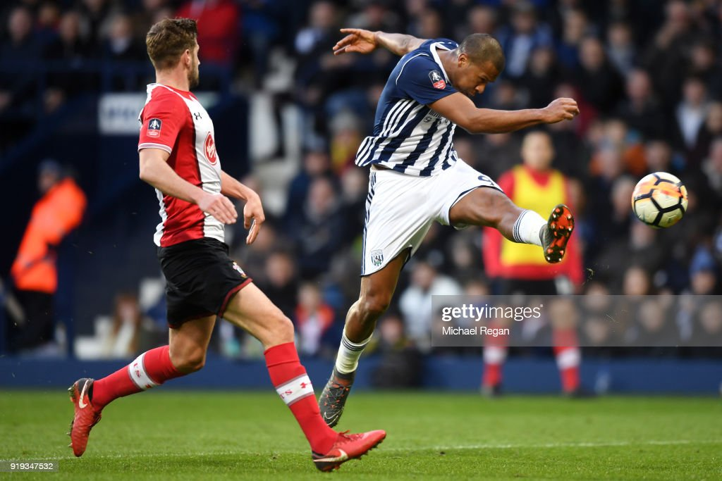 Jose Salomon Rondon of West Bromwich Albion scores his sides first goal during the The Emirates FA Cup Fifth Round between West Bromwich Albion v Southampton at The Hawthorns on February 17, 2018 in West Bromwich, England.