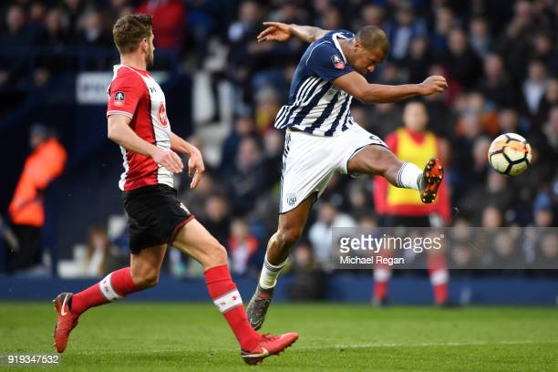 Jose Salomon Rondon of West Bromwich Albion scores his sides first goal during the The Emirates FA Cup Fifth Round between West Bromwich Albion v...