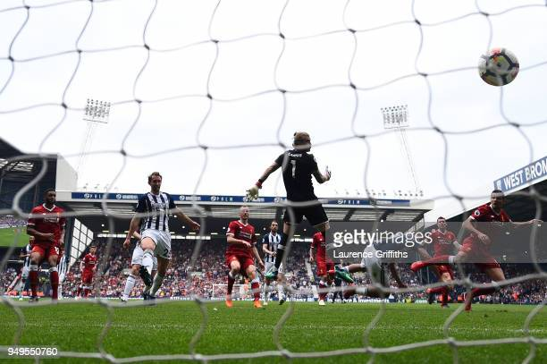 Jose Salomon Rondon of West Bromwich Albion scores his sides second goal during the Premier League match between West Bromwich Albion and Liverpool...