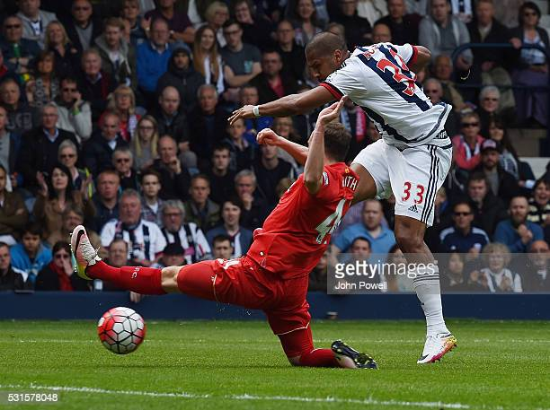 Jose Salomon Rondon of West Bromwich Albion scores the opening goal during the Barclays Premier match between West Bromwich Albion and Liverpool at...