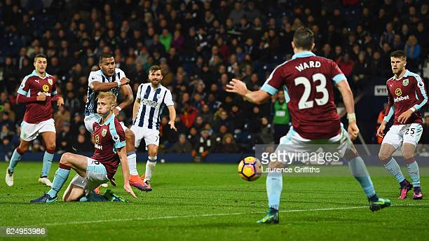 Jose Salomon Rondon of West Bromwich Albion scores their fourth goal during the Premier League match between West Bromwich Albion and Burnley at The...