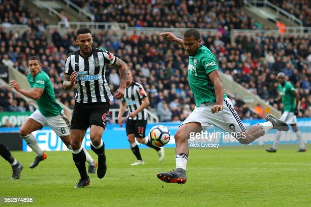 Jose Salomon Rondon of West Bromwich Albion shoots and misses during the Premier League match between Newcastle United and West Bromwich Albion at St...