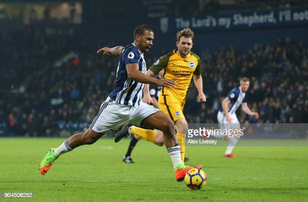Jose Salomon Rondon of West Bromwich Albion shoots during the Premier League match between West Bromwich Albion and Brighton and Hove Albion at The...
