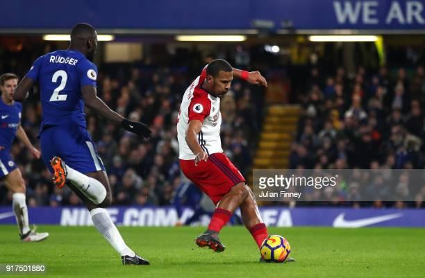 Jose Salomon Rondon of West Bromwich Albion shoots during the Premier League match between Chelsea and West Bromwich Albion at Stamford Bridge on...