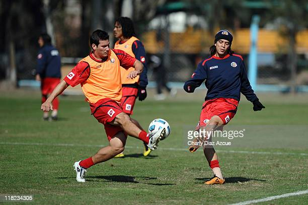 Jose Salvatierra and Jorge Castro of Costa Rica during a training session for the 2011 Copa America at Papel NOA stadium on July 05 2011 in Jujuy...