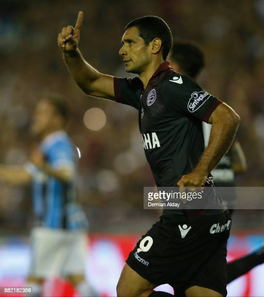 Jose Sand of Lanus celebrates after scoring a penalty kick during the second leg match between Lanus and Gremio as part of Copa Bridgestone...