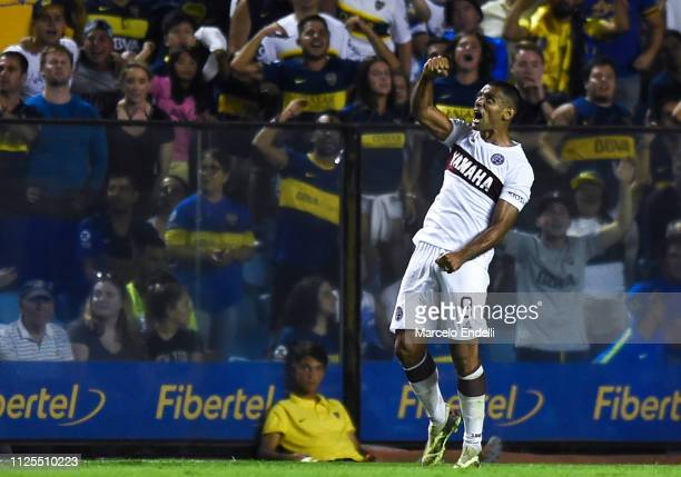 Jose Sand of Lanus celebrates after scoring the first goal of his team during a match between Boca Juniors and Lanus as part of Superliga 2018/19 at...