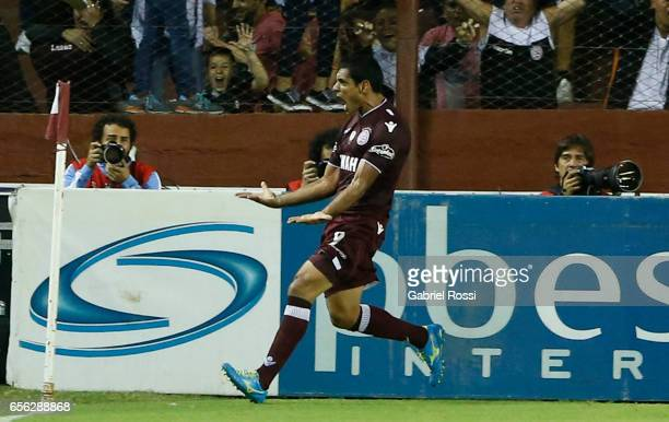 Jose Sand of Lanus celebrates after scoring the first goal of his team during a match between Lanus and River Plate as part of Torneo Primera...