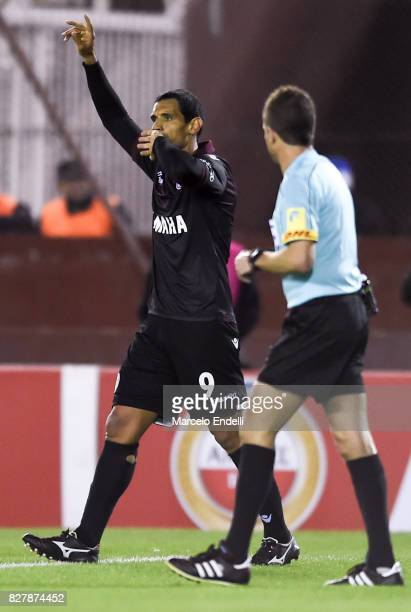 Jose Sand of Lanus celebrates after scoring the opening goal during the second leg match between Lanus and The Strongest as part of round of 16 of...