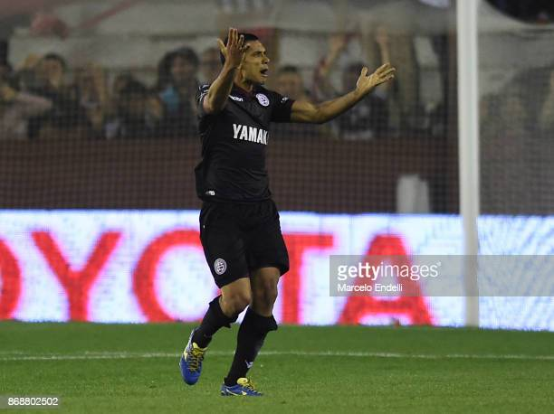Jose Sand of Lanus celebrates after scoring the second goal of his team during a second leg match between Lanus and River Plate as part of the...