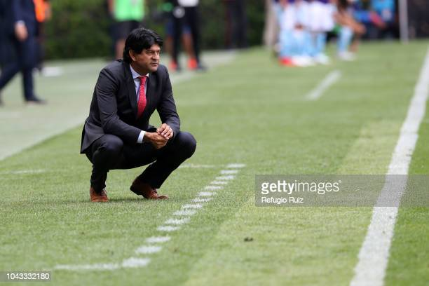 Jose Saturnino Cardozo coach of Chivas looks on during the 10th match between Chivas and Queretaro as part of the Torneo Apertura 2018 Liga MX at...