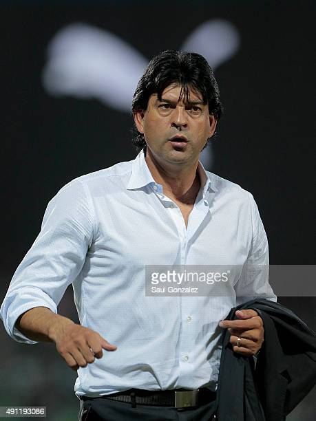 Jose Saturnino Cardozo coach of Toluca leaves the field after a first half during the 12th round match between Santos Laguna and Toluca as part of...