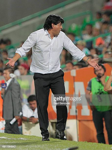 Jose Saturnino Cardozo coach of Toluca reacts during the 12th round match between Santos Laguna and Toluca as part of the Apertura 2015 Liga MX at...