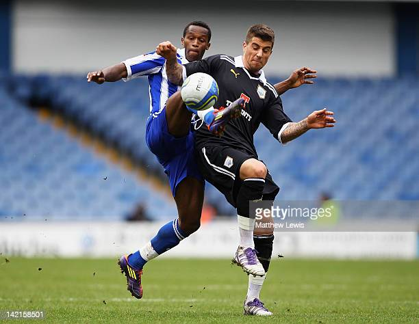 Jose Semedo of Sheffield Wednesday and Max Ehmer of Preston challenge for the ball during the npower League One match between Sheffield Wednesday and...