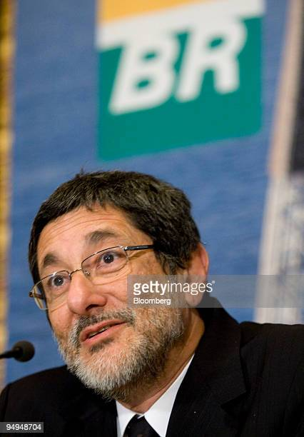 Jose Sergio Gabrielli chief executive officer of Petroleo Brasileiro SA speaks during a news conference at the New York Stock Exchange in New York US...