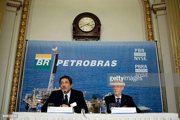 Jose Sergio Gabrielli chief executive officer of Petroleo Brasileiro SA left speaks during a news conference with Almir Guilherme Barbassa chief...