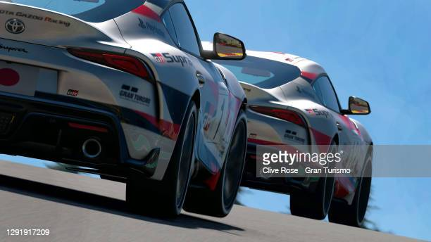 Jose Serrano of Spain in action during the FIA Gran Turismo World Tour 2020 Finals - GR Supra GT Cup race held at the virtual Circuit of...