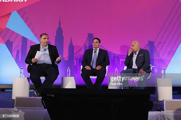 Jose Singer Jeff Giacchetti and Ron Amram speak onstage at the Getting Native Video Right A Brand Playbook panel on the ADARA Stage at Times Center...