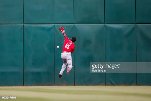 Jose Siri of the Cincinnati Reds bats can't make a catch on a ball hit by Richie Shaffer of the Cleveland Indians in the 8th inning during a Spring...