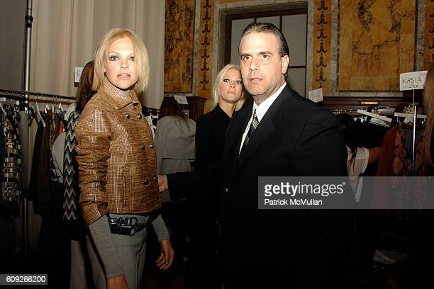 Jose Solis with Model attends BILL BLASS New York Fall '07 Fashion Show Reception at New York Public Library on July 17 2007 in New York City