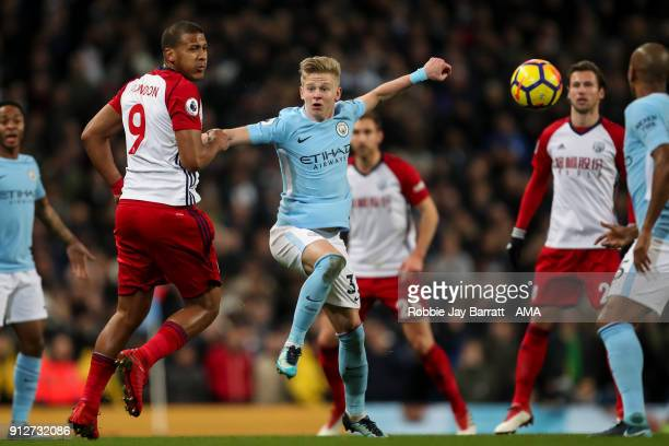 Jose Solomon Rondon of West Bromwich Albion and Oleksandr Zinchenko of Manchester City during the Premier League match between Manchester City and...