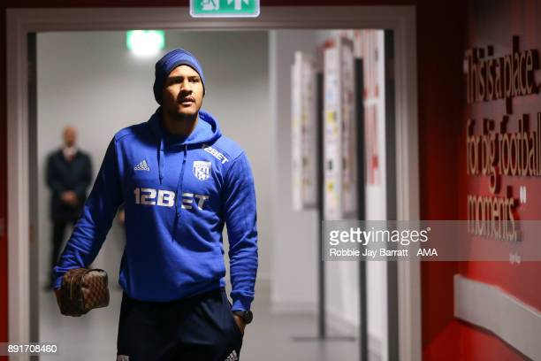 Jose Solomon Rondon of West Bromwich Albion arrives prior to the Premier League match between Liverpool and West Bromwich Albion at Anfield on...