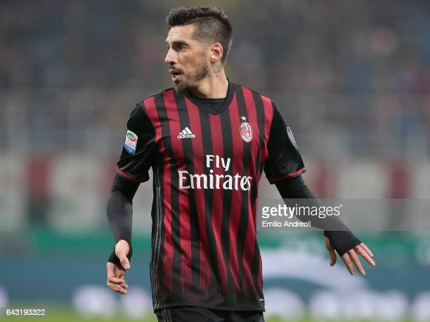 Jose Sosa of AC Milan gestures during the Serie A match between AC Milan and ACF Fiorentina at Stadio Giuseppe Meazza on February 19 2017 in Milan...