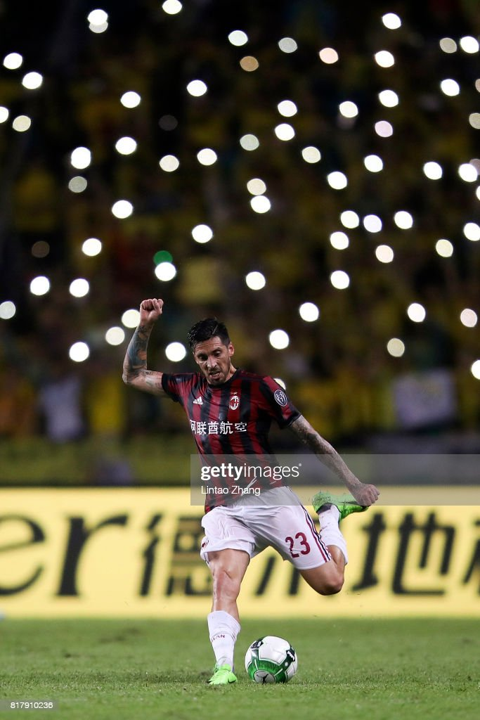 Jose Sosa of AC Milan in action during the 2017 International Champions Cup football match between AC milan and Borussia Dortmund at University Town Sports Centre Stadium on July 18, 2017 in Guangzhou, China.