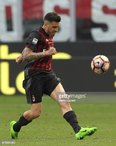 Jose Sosa of AC Milan in action during the Serie A match between AC Milan and Empoli FC at Stadio Giuseppe Meazza on April 23 2017 in Milan Italy