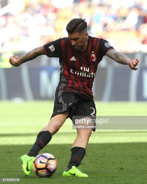Jose Sosa of AC Milan kicks a ball during the Serie A match between AC Milan and Empoli FC at Stadio Giuseppe Meazza on April 23 2017 in Milan Italy