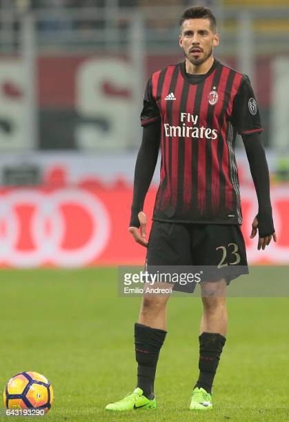Jose Sosa of AC Milan looks on during the Serie A match between AC Milan and ACF Fiorentina at Stadio Giuseppe Meazza on February 19 2017 in Milan...