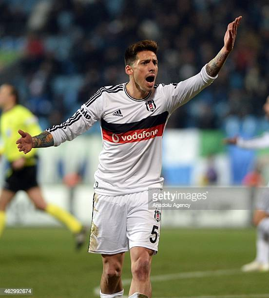 Jose Sosa of Besiktas reacts to the referee during Turkish Spor Toto Super League football match between Caykur Rizespor vs Besiktas in Rize Turkey...