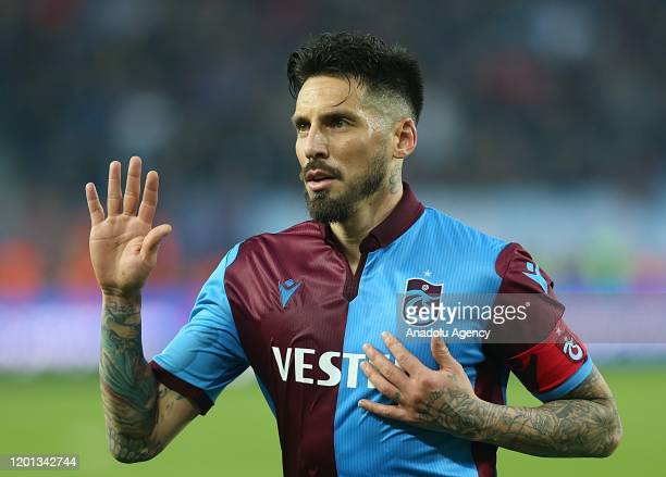 Jose Sosa of Trabzonspor greets fans after Turkish Super Lig soccer match between Trabzonspor and Demir Grup Sivasspor in Trabzon, Turkey on February...