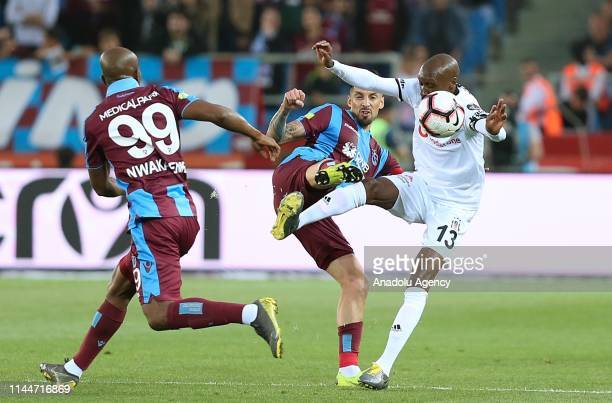 Jose Sosa of Trabzonspor in action against Atiba Hutchinson of Besiktas during Turkish Super Lig soccer match between Trabzonspor and Besiktas at the...