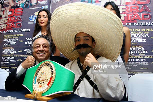 Jose Sulaiman president of CMB and Alberto Garza during a press conference to announce the boxing event 'Punos de Terra y Libertad' at Casa Inn Hotel...