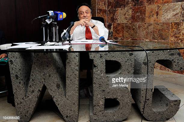 Jose Sulaiman President of WBC during a press conference to deliver the Silver belt to Wilberth Uicab flyweight world champio at WBC Offices on...