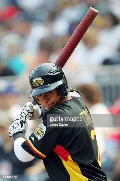Jose Tabata of the World Team warms up against the U.S.A. Team during the XM Satellite Radio All-Star Futures Game at PNC Park on July 9, 2006 in...