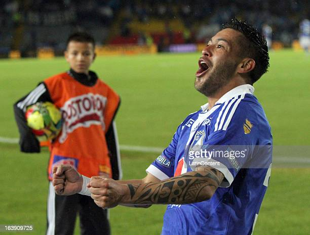 Jose Tancredi of Millonarios celebrates a goal against Cucuta during a match between Millonarios and Cucuta as part of the Liga Postobon 2013 at...