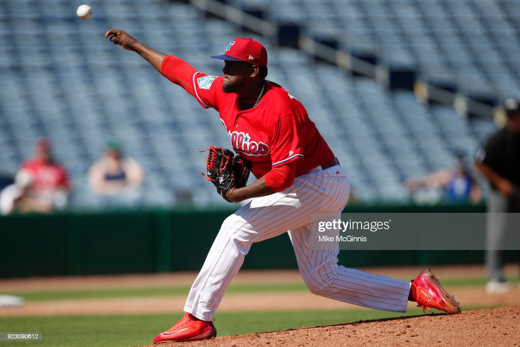 Jose Taveras #72 of the Philadelphia Phillies pitches against the University of Tampa during the Spring Training at Spectrum Field on February 22, 2018 in Milwaukee, Wisconsin.